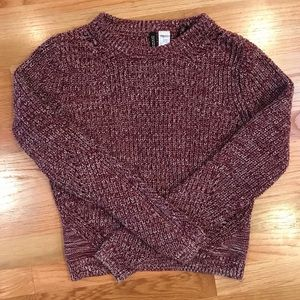 Knit Cropped Maroon Sweater